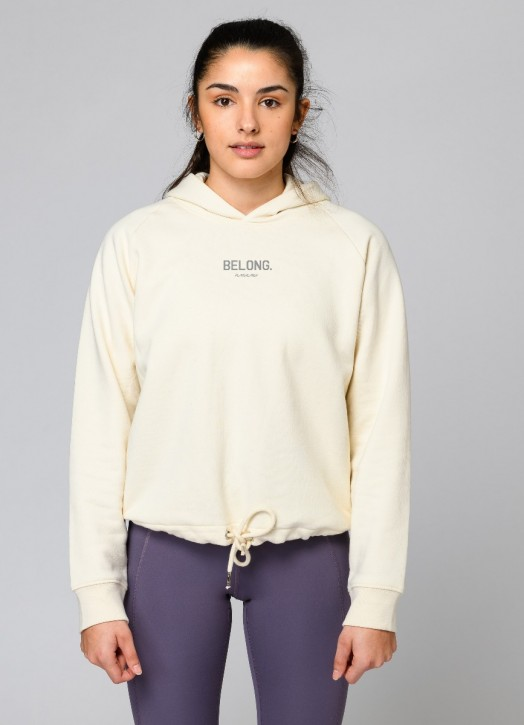 Eco Cropped Hoodie Cream